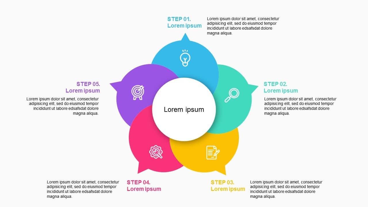Circluar colorful 5 steps Diagram