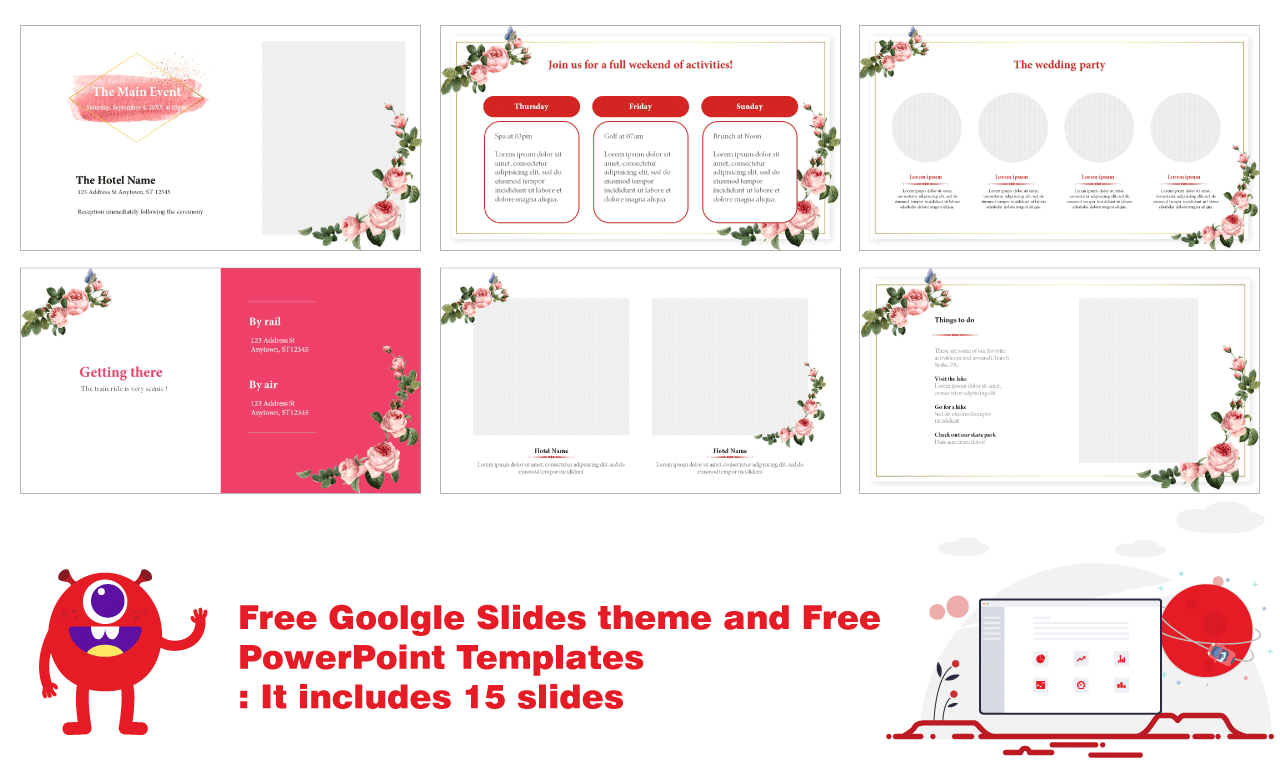 Floral design and pastel watercolor concept wedding google slide theme and PPTMON