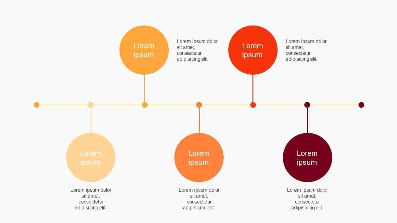 Orange Tone 5 steps Roadmap Timeline