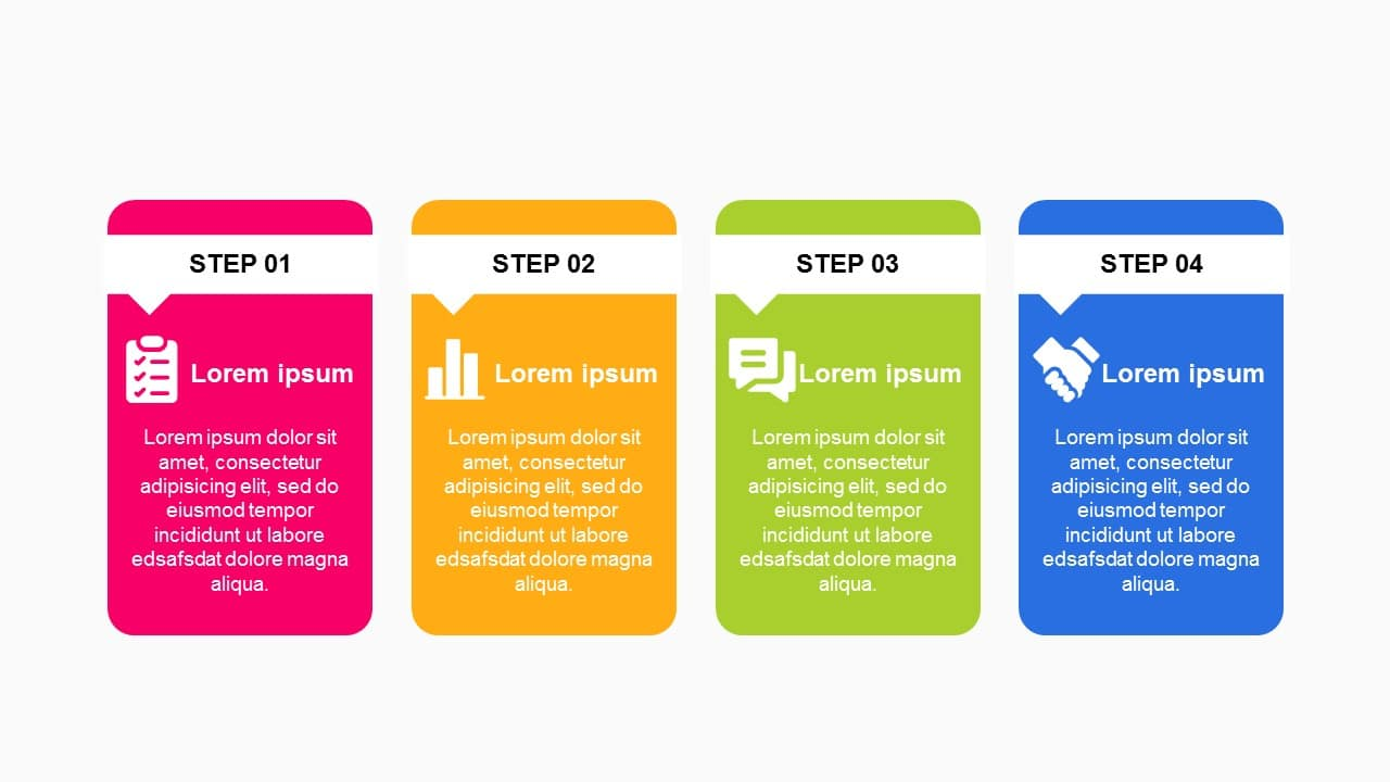 Textbox concept 4 steps Roadmap Timeline