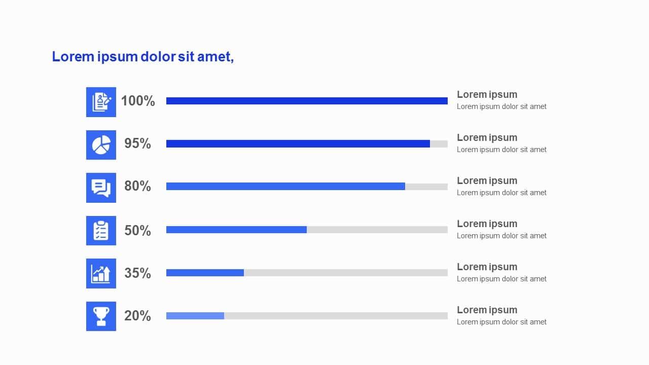 Blue tone horizontal Bar Charts