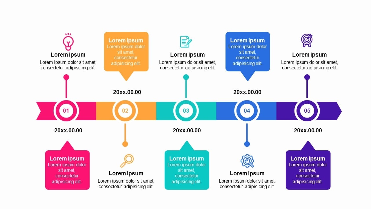 Colorful 5 Steps Roadmap Timeline